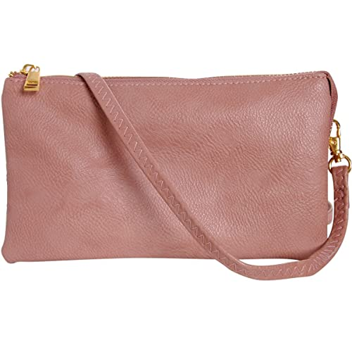 ce33bd2dd9 Humble Chic Vegan Leather Small Crossbody Bag or Wristlet Clutch Purse,  Includes Adjustable Shoulder and