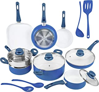 Ivation Ceramic Cookware | 16-Piece Nonstick Cookware Set with Induction Base, SoftGrip Handles & Clear Glass Lids | Compa...