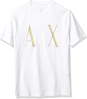 AX Armani Exchange Men's Regular Fit Ramadan Metallic Logo Crewneck Graphic Tee