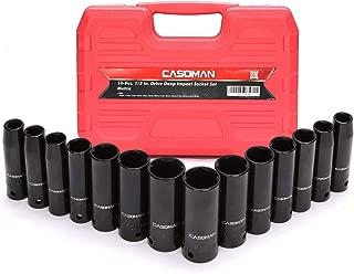 CASOMAN 1/2-Inch Drive Deep Impact Socket Set, Metric, Cr-V, 6-Point, 10 mm - 24 mm, 14-Sockets Set