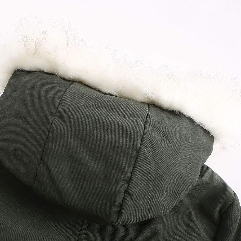 HGWXX7 Womens Outerwear Fleece Lined Long Sleeve Mid Long Parka Jacket Faux Fur Hood Plus Size Zip Up Pocket Coats Army Green