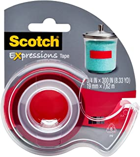 Scotch 3/4 x 300 Inches Expressions Magic Tape with Dispenser, Red (MMMC214REDD)