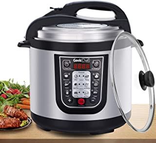 Geek Chef 6 Qt Multiuse Electric Pressure Cooker, Stainless Steel Inner Pot, 12 Presets Programmable Multicooker, Sous Vide Cooking Mode, Rice Cooker, Sauté, Yogurt Maker and Keep Warmer for 24 hs and Delay Start