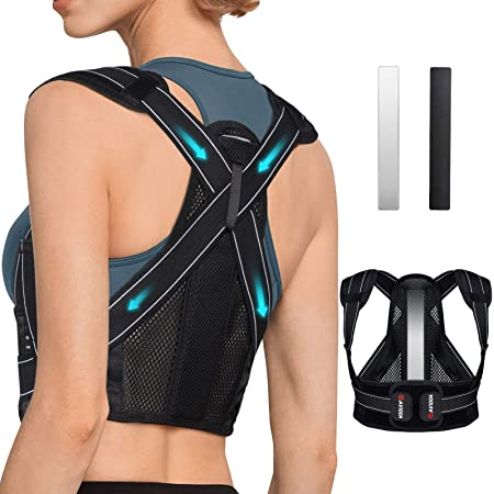 AVIDDA Posture Corrector for Men and Women, Upgraded Back Brace with Replaceable Support Plates, Adjustable and Breathable Back Support for Back, Neck and Shoulder Pain Relief