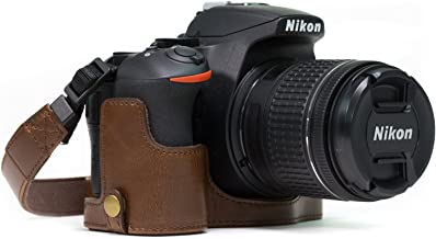 MegaGear Nikon D5600, D5500 Ever Ready Leather Camera Half Case and Strap, with Battery Access - Dark Brown - MG1171