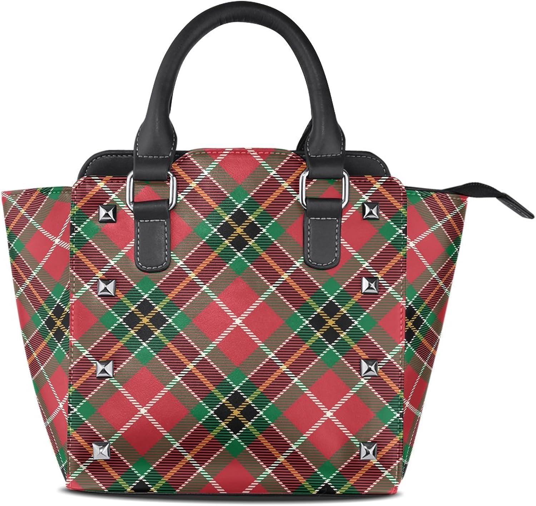 My Little Nest Women's Top Handle Satchel Handbag Plaid Tartan Christmas Ladies PU Leather Shoulder Bag Crossbody Bag