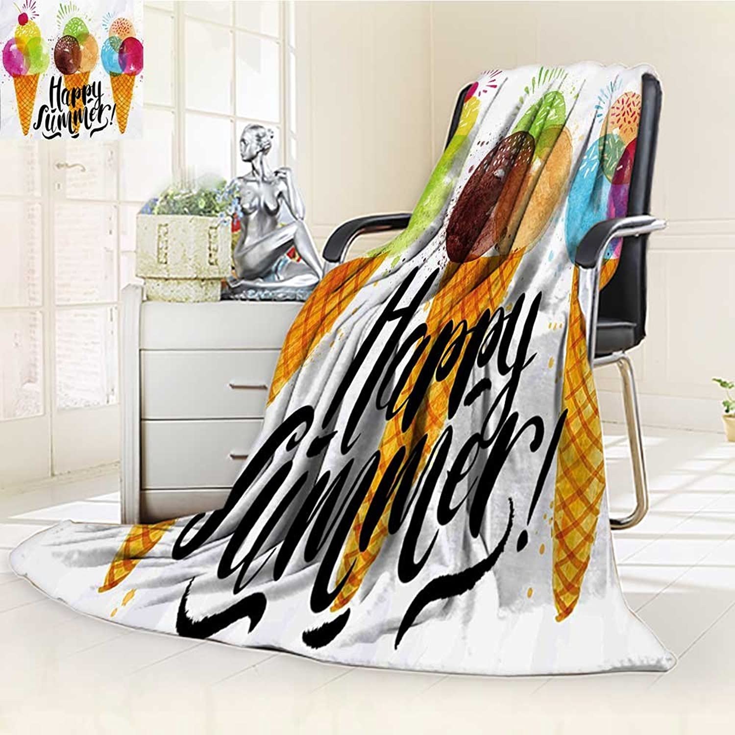 YOYI-HOME Season Duplex Printed Blanket for Bed Or Couch Food Print of Ice Cream Cones and Fruit Milk Dessert for Kids Sequal Artwork Multicolor Warm Microfiber W39.5  x H59