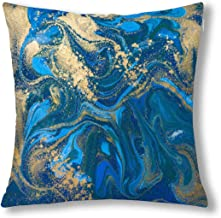 INTERESTPRINT Abstract Blue and Gold Liquid Marble Stone Decor Throw Pillow Case Cushion Covers, Decorative Zippered Pillowcase Protector, 18x18 Inch