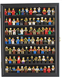 Minifigures Display Case Wall Thimble Cabinet Shadow Box, Solid Wood (Black Finish)
