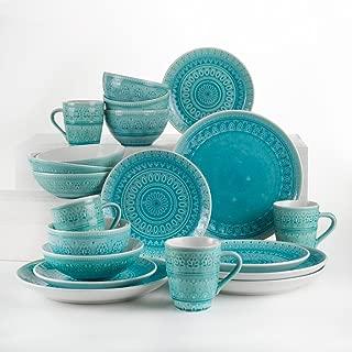 Euro Ceramica Fez Collection 20 Piece Ceramic Reactive Crackleglaze Dinnerware Set, Service for 4, Teardrop Mandala Design, Turquoise