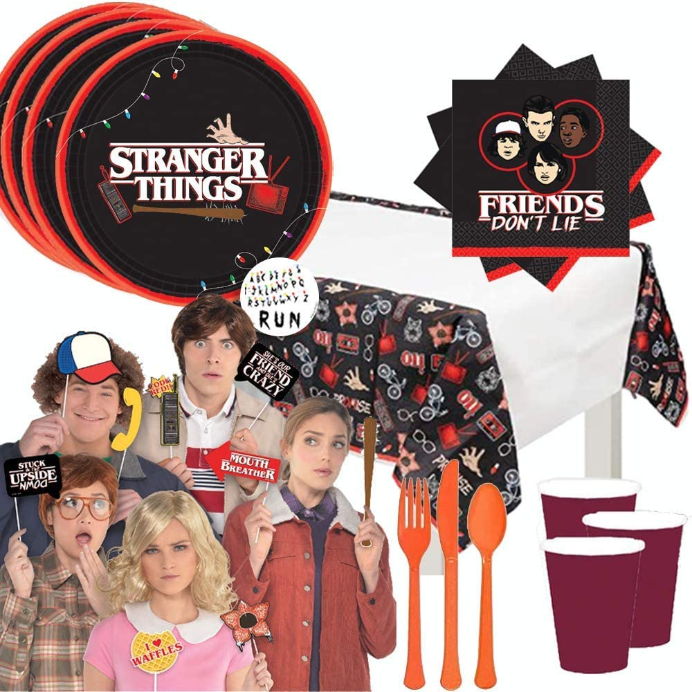 Stranger Things Party Supplies Pack With Stranger Things Dinner Plates, Cups, Napkins, Tablecover, Cutlery, 12 Photo Props, and Pin