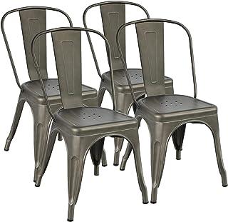 Yaheetech Set de 4 Taburetes de Bar Sillas Industriales Altura 45 cm