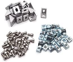 Antrader 20 Sets 2020 Series European Standard Aluminum Profile Connector, 20pcs Aluminium Corner Brackets + 40pcs M5 x 10mm T-Slot Nuts + 40pcs M5x10mm Hex Socket Screw Bolt Used for Reinforcing