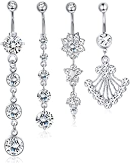 4 PCS 14G Surgical Steel Dangle Belly Button Rings 2 PCS Belly Chains Set Thin Sexy Body Chain Navel Rings Jewelry for Women