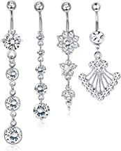 Finrezio 4 PCS 14G Surgical Steel Dangle Belly Button Rings 2 PCS Belly Chains Set Thin Sexy Body Chain Navel Rings Jewelry for Women