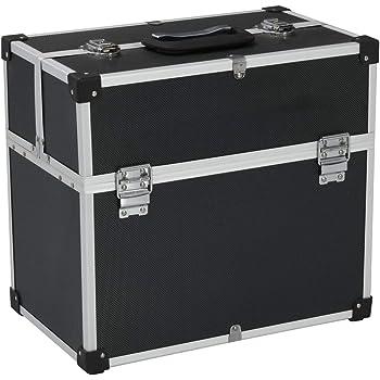 Festnight Caja de Herramientas Aluminio Puede Cerrarse con Seguro Caja Metalica Negro 43,5x22,5x34 cm: Amazon.es: Hogar