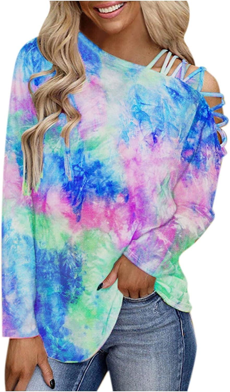 Womens Sweatshirt Off-Shoulder Pullover Long Sleeve Casual Aesthetic Loose Tie Dye Floral Graphic Color Block Top Tee