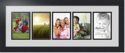 Art to Frames Double-Multimat-1336-47R//89-FRBW26079 Collage Photo Frame Double Mat with 5-4x6 Openings and Satin Black Frame
