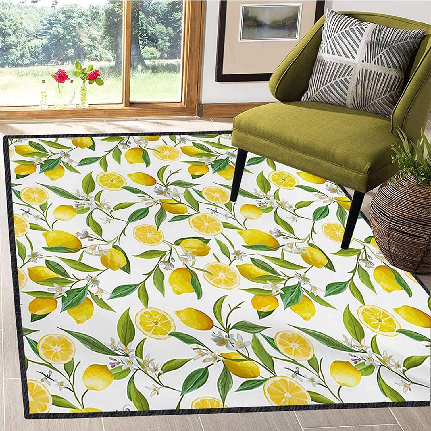 Nature, Door Mats for Inside, Exotic Lemon Tree Branches Yummy Delicious Kitchen Gardening Design, Door Mats for Inside 5x8 Ft Fern Green Yellow White