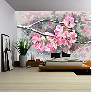 wall26 - Original Painting of Flower, Blooming Spring Tree, Watercolor Style, Vector Version - Removable Wall Mural | Self-Adhesive Large Wallpaper - 100x144 inches
