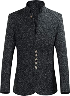 Mens Wool Blazer Slim Fit Tweed Suit Jacket Short Type Chinese Style Chic Outwear Jackets