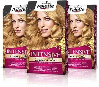 Palette Intense Cream Coloration Intensive Coloración del Cabello 8.55 Rubio Dorado Miel - Pack de 3