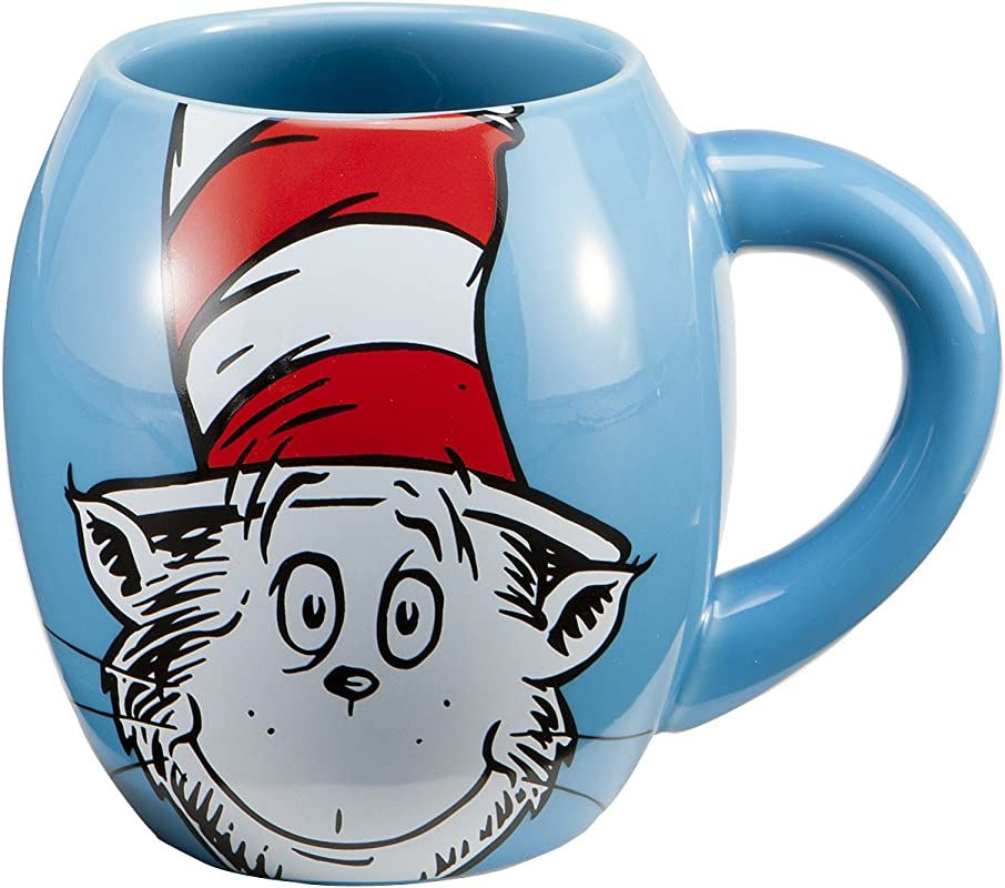 Vandor 51628 Dr SeussThe Cat In The Hat 18 Oz Oval Ceramic Mug Blue Red And White