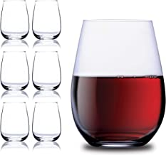 Chef's Star Broad Design Stemless Wine Glasses, BPA-Free Elegant Glassware Collection Durable and Sturdy for Red and White Wine (Set of 6) 15 Ounce