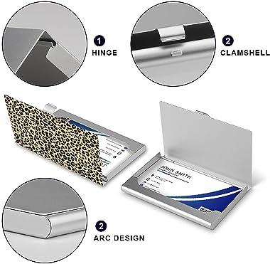 Business Card Holder,Cheetah Leopard Print Animal Skin Aluminum Alloy Business Card Case Credit Card Holders Wallet,Premium P