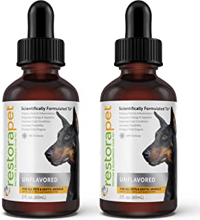 RestoraPet 2 Pack Unflavored Organic Pet Supplement for Dogs & Cats | Healthy & Safe Antioxidant Liquid Drops | Anti-Infla...