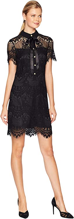 Lace Button From A-Line Dress with Illusion Detail