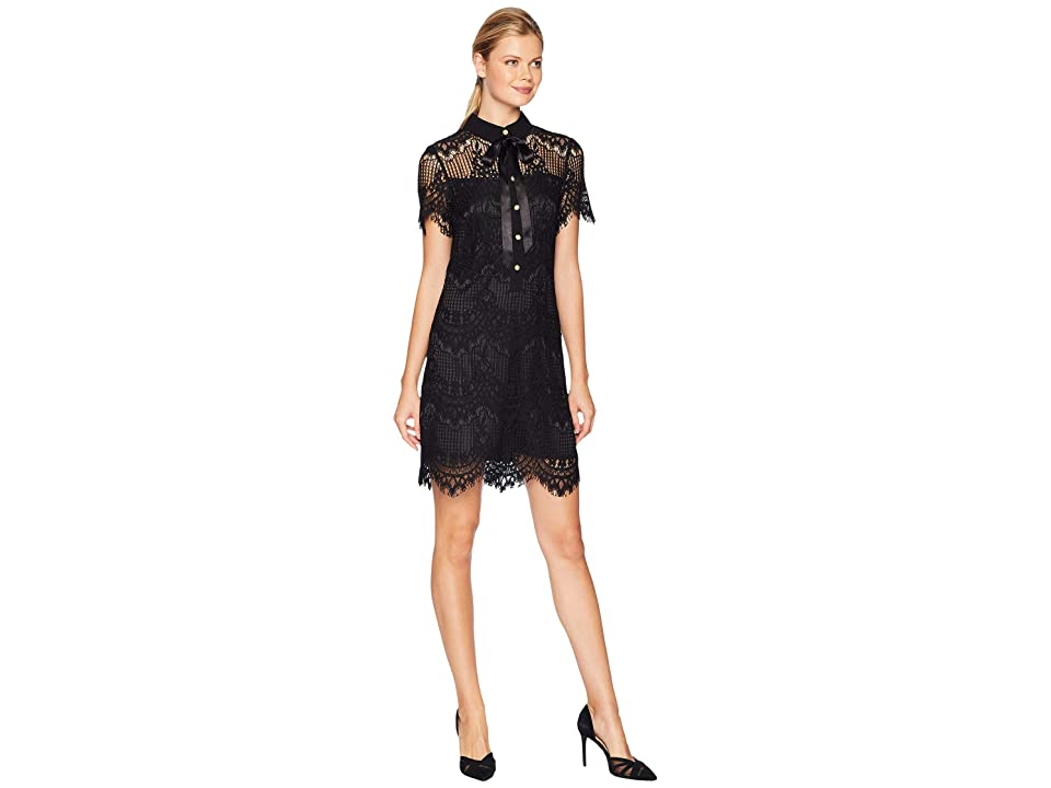 Tahari by ASL Lace Button From A-Line Dress with Illusion Detail (Black) Women