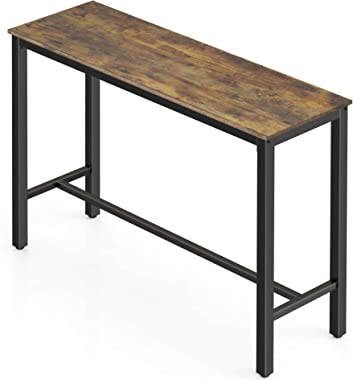 "HOMOOI Bar Table 47.2"", Industrial High Top Pub Dining Bistro Table for Narrow Spaces, Rustic Brown"