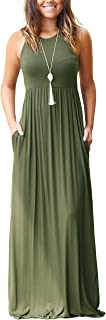 GRECERELLE Womens Maxi Dress Ladies' Summer Casual Short Sleeve Long Dresses with Pocket for Daily, Holiday, Travel, Mater...