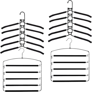 YiSeyruo Clothes Hanger Heavy Duty: 4 Pack 5 Layer Space Saving Clothes Hangers - 2 Coat Hanger 2 Pants Hanger with Non-Sl...