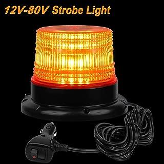 LED Strobe Light, Amber LED Strobe Beacon Light, Emergency Warning Vehicle Light, (12V-80V)w/Magnetic Base and 10 ft. Straight Cord, for Public Utility Vehicles, Construction Vehicles or Tow Trucks