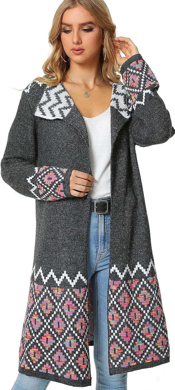VANGULL Womens Long Cardigan Sweaters Open Front Long Sleeve Knit Loose Outwear Coat