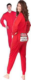 Red Union Suit Men & Women Onesie Pajamas with Funny Butt Flap Danger Blasting Area