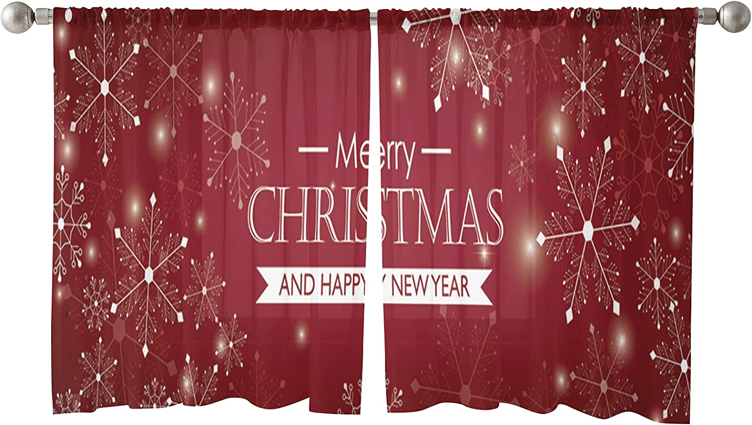 Sheer Curtains 45 Inches Length Panels OFFicial mail order Christmas Ranking TOP3 Merry Snowfl 2