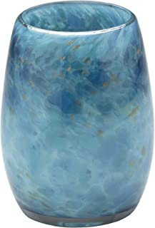 Votive Candle Holder. Hand Blown Art Glass in Teal.