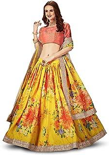 فستان ليهينغا تشولي شبه مخيط من الأورجانزا الأصفر للنساء