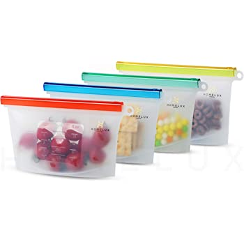 Amazon Com Reusable Eco Silicone Food Storage 1 Bag Size Plastic Containers Cooking Bag Sets For Sous Vide Liquid Snack Lunch Freezer Microwave Silicone Storage Bag For Fruits Kitchen Dining