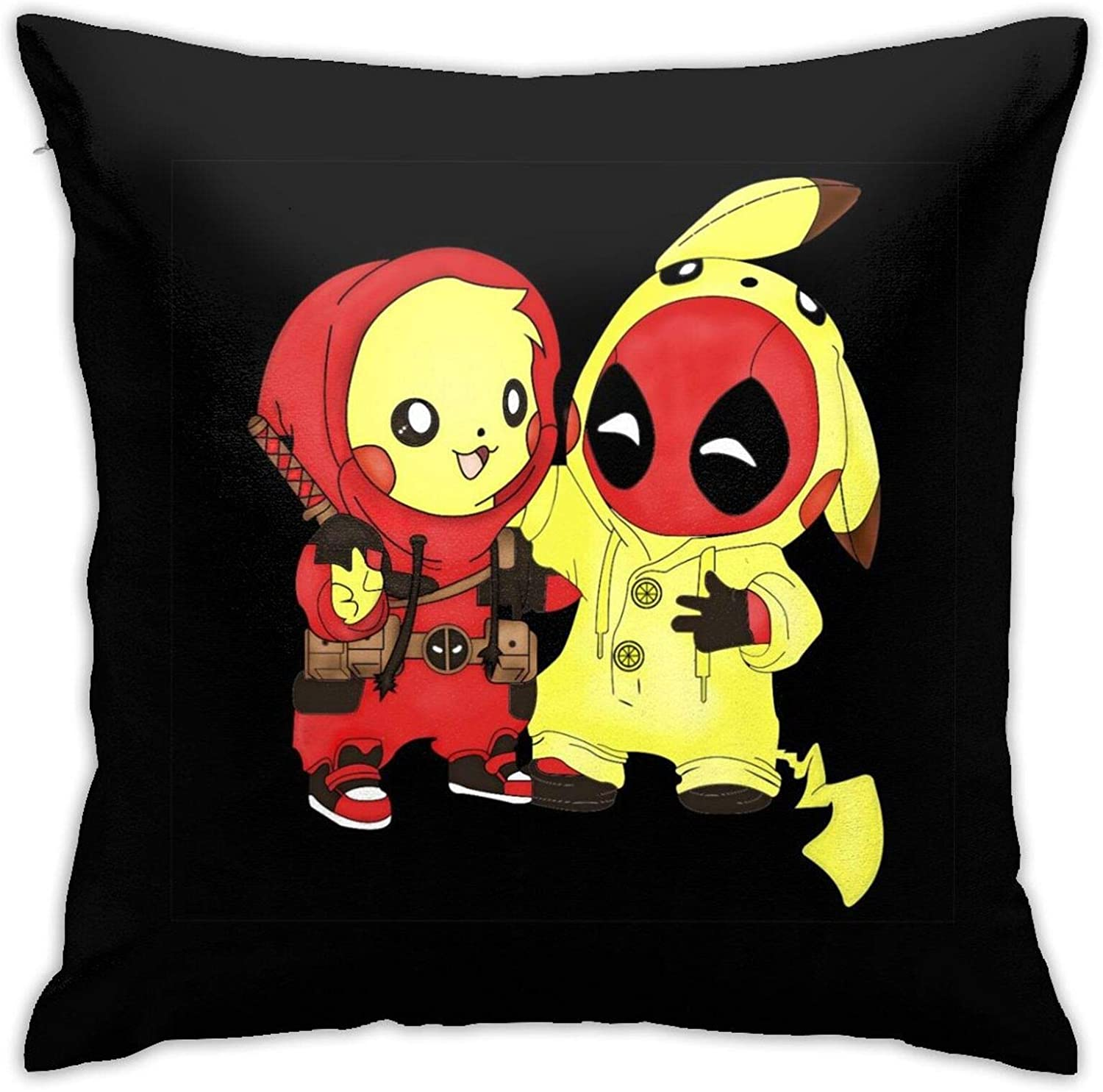 Gocerktr Pikachu Pet Monster and Deadpool Pikapool Square Pillow Covers Decorative Cushion Pillowcase for Sofa Home Bedroom Bed 18 X 18 Inch