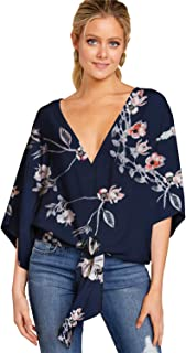 Womens Casual Floral Print Loose Fit Blouse Sexy V Neck Kimono Short Bat Wing Sleeves Tie Front Tops Shirts
