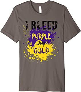 I Bleed Purple And Gold Finger Paint Splatter Team T-Shirt