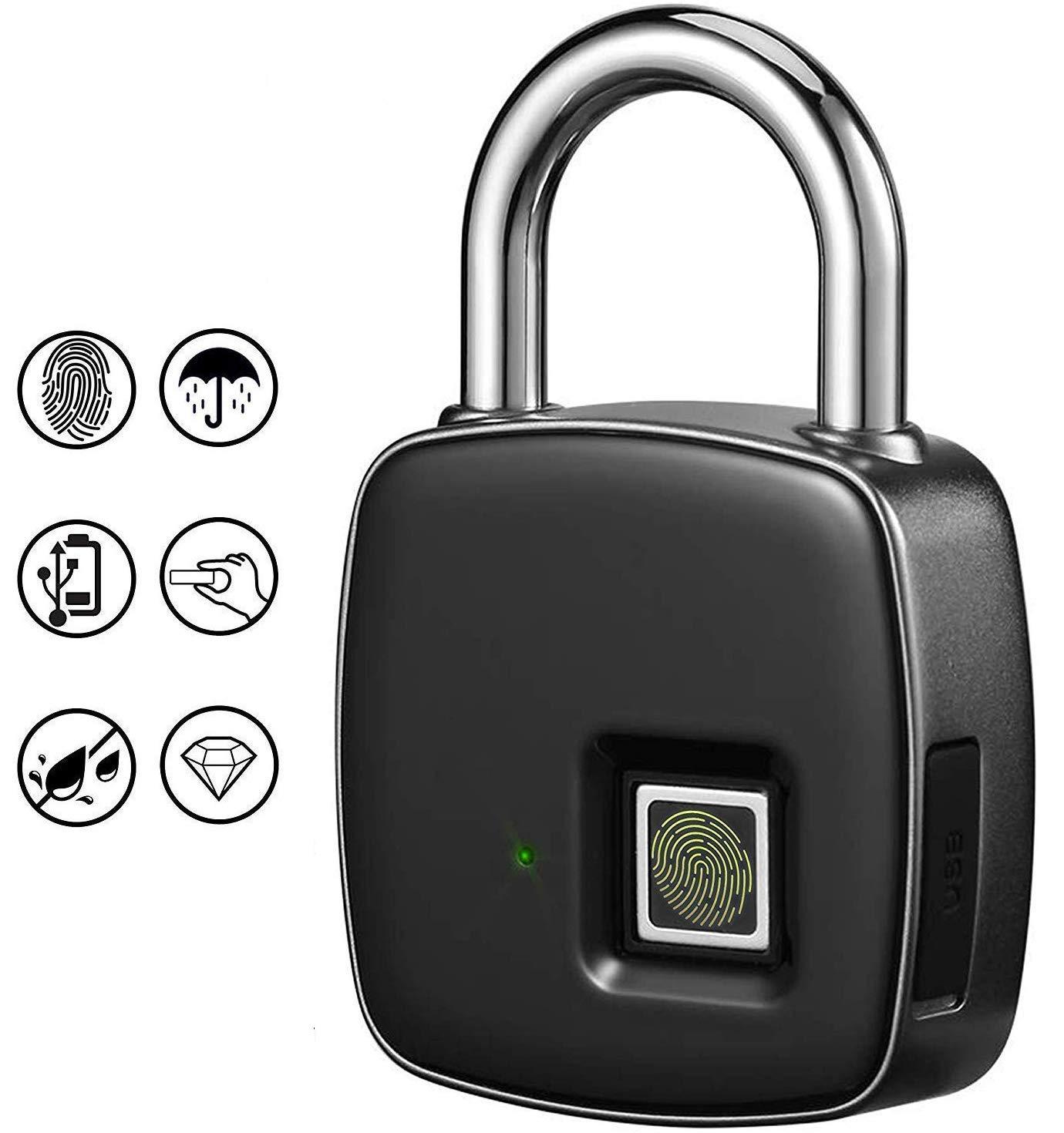 De Carga USB De La Huella Digital del Candado, Cerradura De La Huella Electrónica De Candado De Seguridad Inteligente Sin Llave Puerta De Caja Fuerte Portátil Táctil De Cierre para Armarios, Puertas: