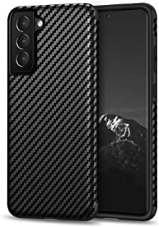 Tasikar Compatible with Samsung Galaxy S21 Case [Military Grade Drop Tested] Carbon Fiber Texture Silicone Bumper Hard Bac...