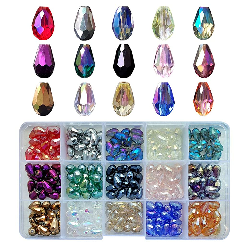 Chengmu 8x12mm Teardrop Glass Beads for Jewelry Making 225pcs AB Colour Faceted Straight Hole Shape Colourful Crystal Spacer Beads Assortments Supplies Accessories for Bracelets Necklaces with Cord