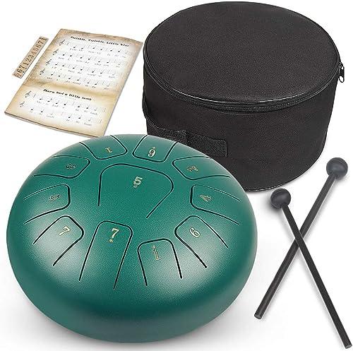 GUNAI Tambour à Languette 10 Pouces Tambour Hand Pan en Acier Instrument à Percussion avec Baguettes de Tambour Sac d...