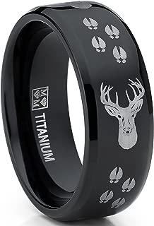 Metal Masters Co. 8MM Black High Polish Deer Head Track Titanium Ring Wedding Band, Men's Hunting Ring, Outdoor Jewelry